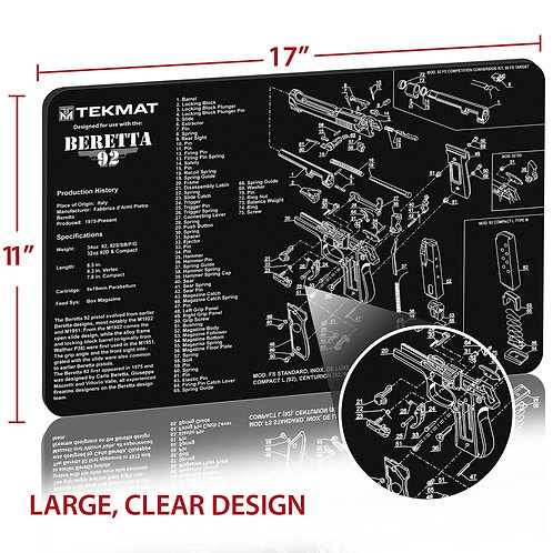 TekMat Beretta® 92 - M9クリーニングマット