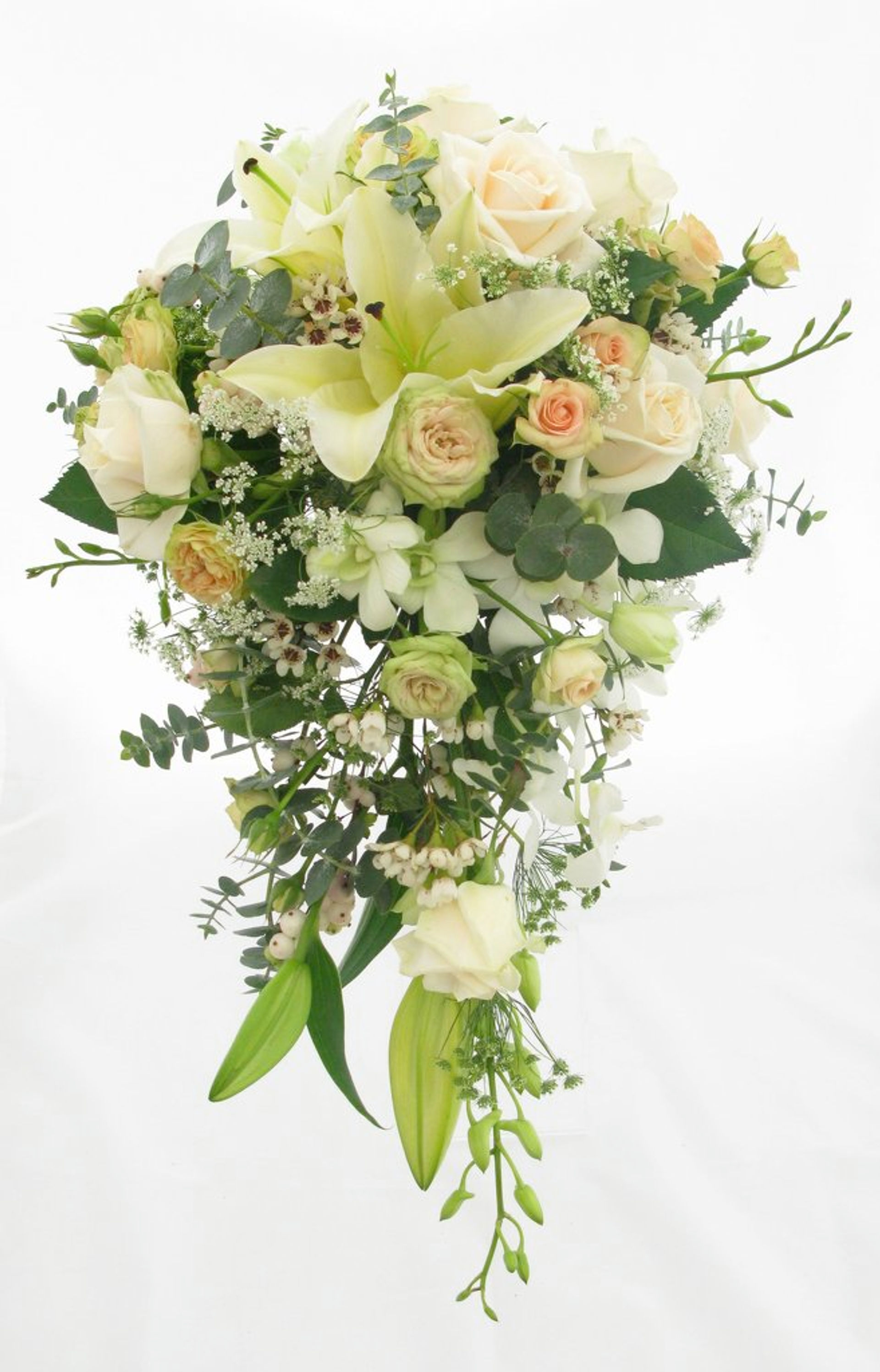 Teardrop cascade bouquet lilies orchids and roses