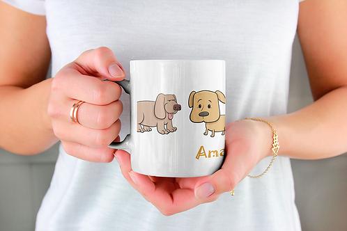 Стилна чаша за кафе с илюстрации на кучета - вариант 1
