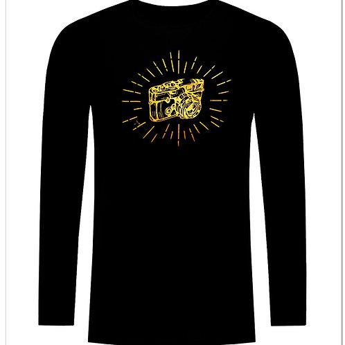 Черна тениска с дълъг ръкав - Ретро фото камера - вариант 6
