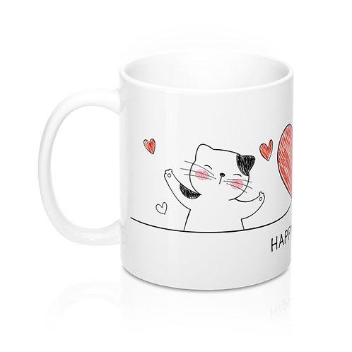 Стилна бяла чаша за кафе с котки, сърце и надпис Happy Love