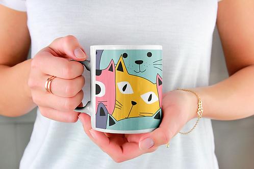 Чаша за кафе със стилни илюстрации на Котки-вар.18 -Безплатна доставка