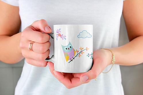 Стилна чаша за кафе с илюстрации на Бухал-вар.14