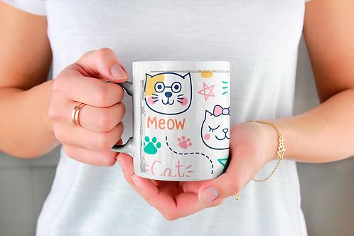 Стилна чаша за кафе с илюстрации на котки - вариант 5