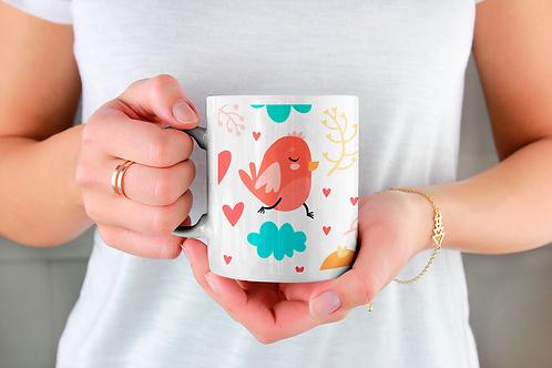 Стилна чаша за кафе с оригинални илюстрации на Птици - вар.10