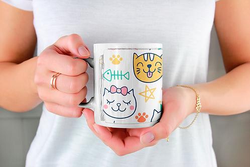 Стилна чаша за кафе с илюстрации на котки - вариант 6 - Безплатна доставка!
