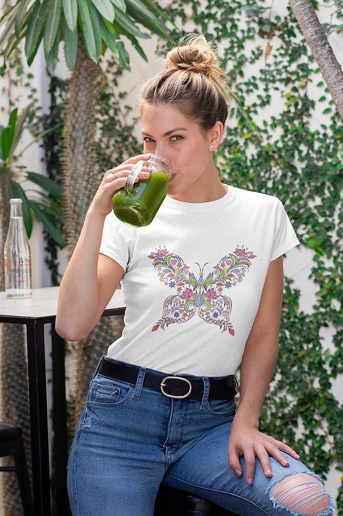 Бяла тениска с илюстрация на Пеперуди - Вариант 10 - Безплатна доставка