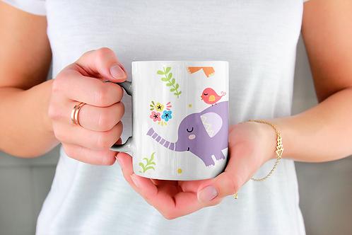 Чаша за кафе с илюстрации на Слончета - вариант 18 - Безплатна доставка.