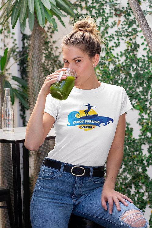 Бяла тениска със Сърф - Вариант 6 - Безплатна доставка
