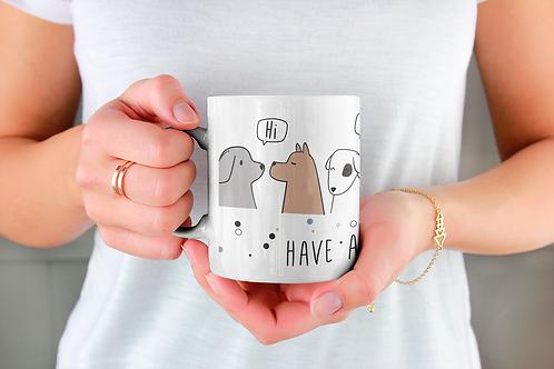 Стилна чаша за кафе с илюстрации на кучета - вариант 6 - Безплатна доста