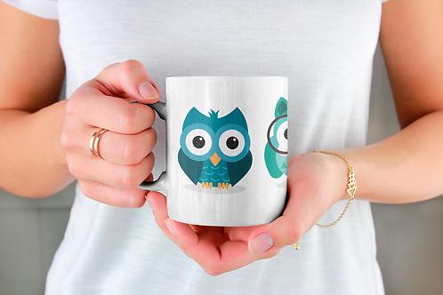 Стилна чаша за кафе с оригинални илюстрации на Птици - вар.18