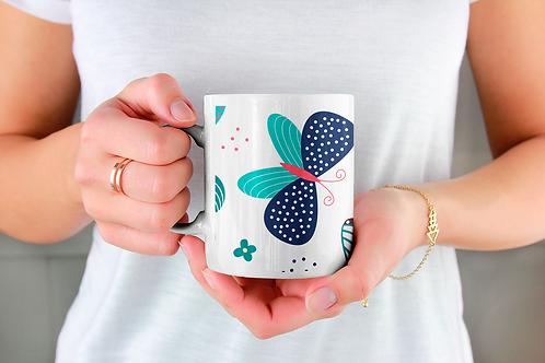 Стилна чаша за кафе с илюстрации на Пеперуди-вар.18 -Безплатна доставка.