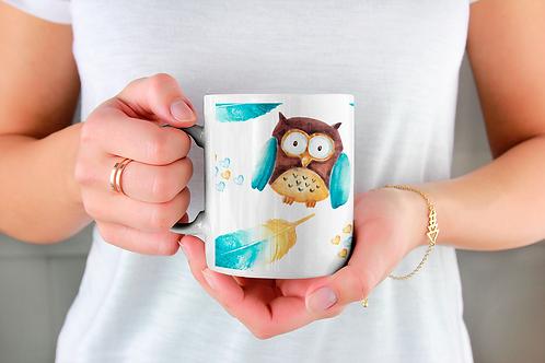 Стилна чаша за кафе с илюстрации на Бухал-вар.11 -Безплатна доставка