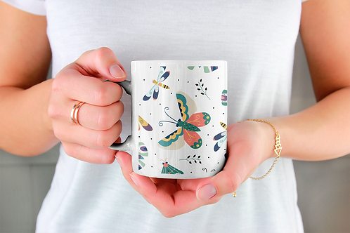 Стилна чаша за кафе с илюстрации на Пеперуди-вар.19 -Безплатна доставка.
