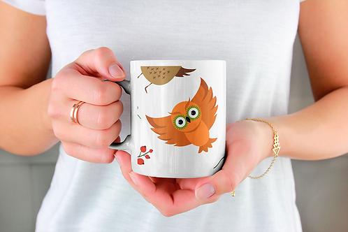 Стилна чаша за кафе с илюстрации на Бухал-вар.7