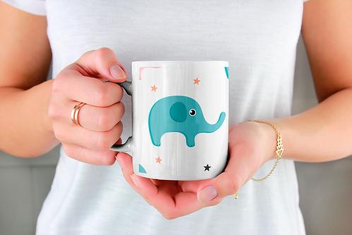 Чаша за кафе с илюстрации на Слончета - вариант 6 - Безплатна доставка.