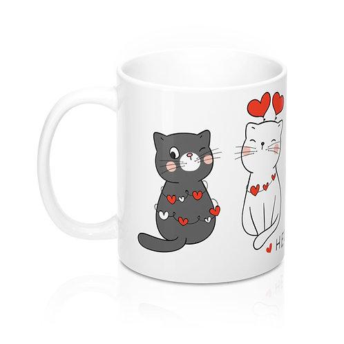 Стилна бяла чаша за кафе с котки, сърцa и надпис Hello my Love