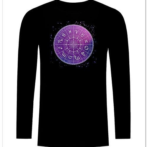 Черна тениска с дълъг ръкав - Зодиак - вариант 2