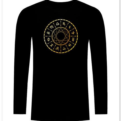 Черна тениска с дълъг ръкав - Зодиак - вариант 4
