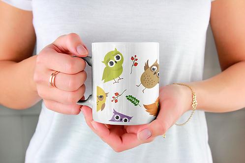 Стилна чаша за кафе с оригинални илюстрации на Птици - вар.4