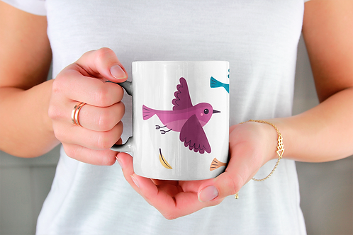 Стилна чаша за кафе с оригинални илюстрации на Птици - вар.23