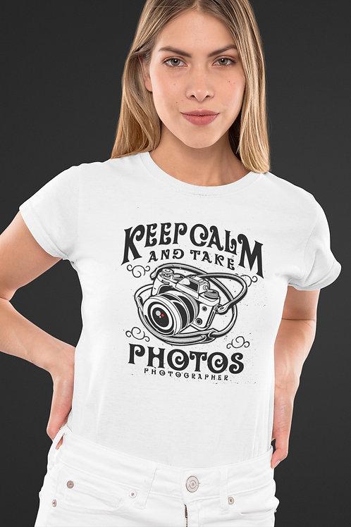 Бяла тениска Keep calm and take photos - Безплатна доставка