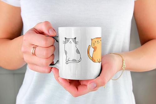 Стилна чаша за кафе с илюстрации на котки - вариант 7 - Безплатна достав