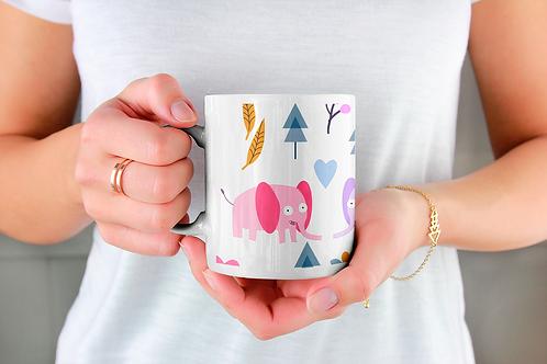 Чаша за кафе с илюстрации на Слончета - вариант 24