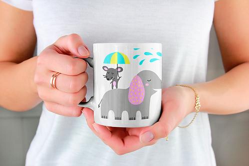 Чаша за кафе с илюстрации на Слончета - вариант 29 - Безплатна доставка.
