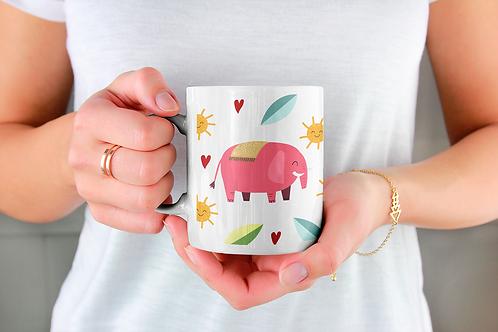 Чаша за кафе с илюстрации на Слончета - вариант 12 - Безплатна доставка.