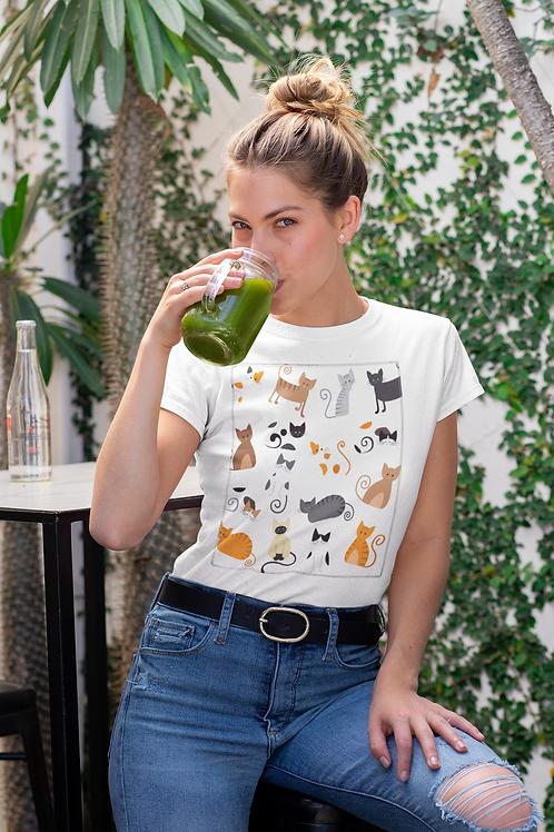 Бяла тениска с илюстрация на Котки - Вариант 8 - Безплатна доставка