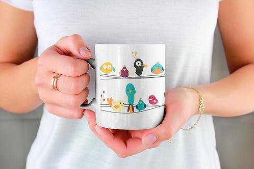 Стилна чаша за кафе с оригинални илюстрации на Птици - вар.3