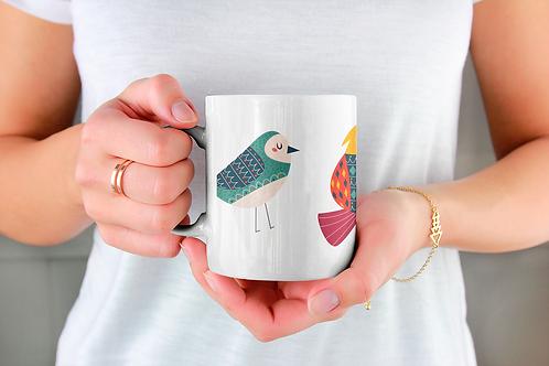 Стилна чаша за кафе с оригинални илюстрации на Птици - вар.29-Безплатна доставка