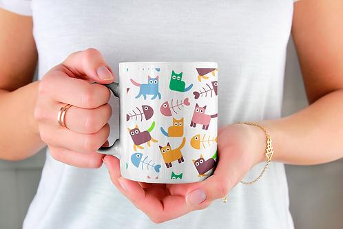 Чаша за кафе със стилни илюстрации на Котки-вар.16
