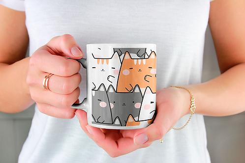 Чаша за кафе със стилни илюстрации на Котки-вар.25 -Безплатна доставка