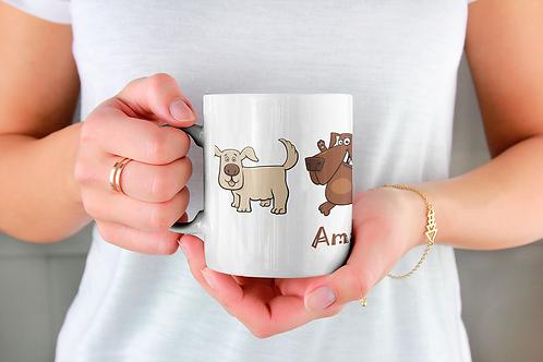 Стилна чаша за кафе с илюстрации на кучета - вариант 5 - Безплатна доста