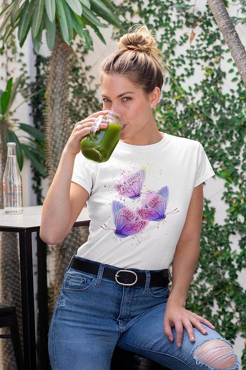 Бяла тениска с илюстрация на Пеперуди - Вариант 9 - Безплатна доставка