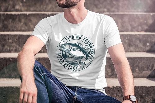 Бяла тениска с Рибарска тематика - Вариант 2 - Безплатна доставка