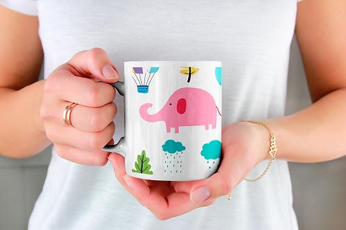 Чаша за кафе с илюстрации на Слончета - вариант 5 - Безплатна доставка.