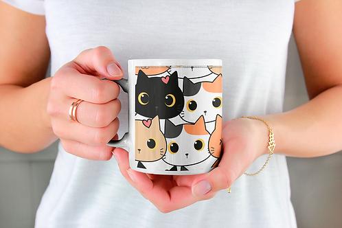 Стилна чаша за кафе с илюстрации на котки - вариант 4 - Безплатна доставка!