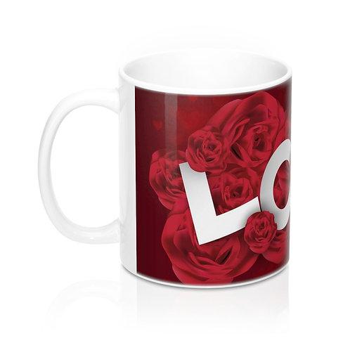 Стилна чаша за кафе с рози и надпис Love