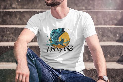 Бяла тениска с Рибарска тематика - Вариант 5 - Безплатна доставка