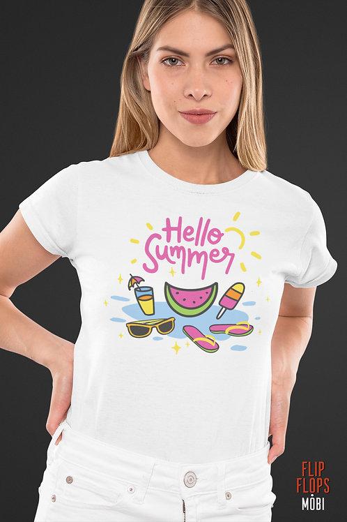 Бяла тениска - Hello Summer - Безплатна доставка
