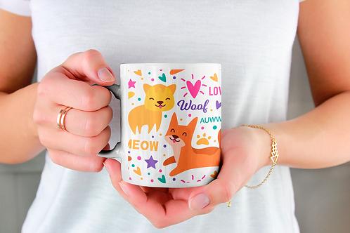Чаша за кафе със стилни илюстрации на Котки-вар.17 -Безплатна доставка