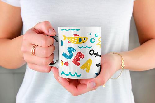 Стилна чаша за кафе с оригинални илюстрации на Риби - вар.9 - Безплатна доставка
