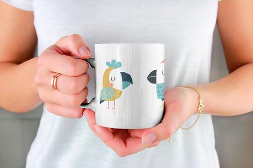 Стилна чаша за кафе с оригинални илюстрации на Птици - вар.19