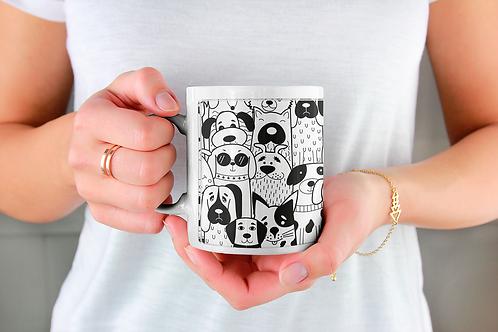 Стилна чаша за кафе с илюстрации на кучета - вариант 12 - Безплатна дост