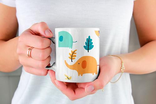 Чаша за кафе с илюстрации на Слончета - вариант 4 - Безплатна доставка.