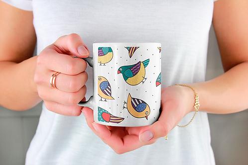 Стилна чаша за кафе с оригинални илюстрации на Птици - вар.22-Безплатна доставка