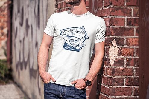 Бяла тениска с Рибарска тематика - Вариант 6 - Безплатна доставка